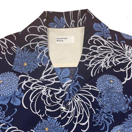 Universal Works Japanese Flower II Open Collar Shirt - Blue