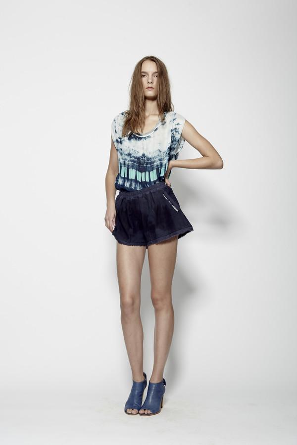 Laura Siegel Deep Sea Blue Suede Shorts