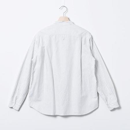 Danton Band Collar L/S Oxford Pocket Shirt - Grey Stripe