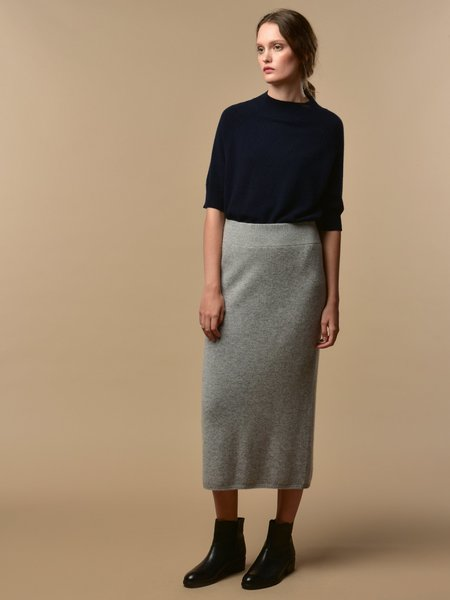 PURECASHMERE NYC Midi Skirt - Light Grey