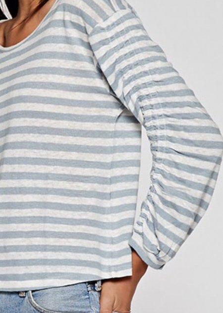 Mabel and Moss Ellie Stripe Crewneck Top - white/soft mint