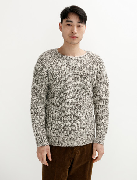 Tender 760 Mixed Voe Wool Rib Pullover Ecru
