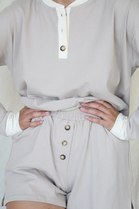 Donni Duo Henley Long Sleeve - Stone