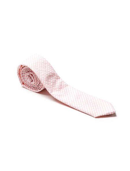 Neighbour Cotton Tie Pink Seersucker