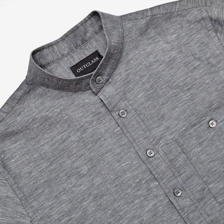 Outclass Linen Chambray Band Collar L/S Shirt