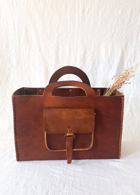 LUZ Collection La Reina Leather Carryall Bag - brown