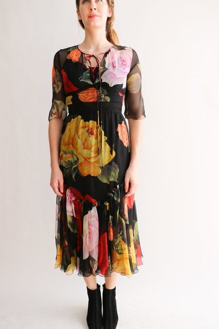 [Pre-loved] Dolce & Gabbana Midi Dress - Black Floral