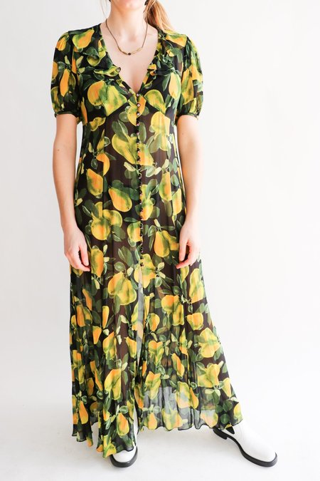 [Pre-loved] Marc Jacobs Redux Grunge Printed Maxi Dress - Black/Yellow