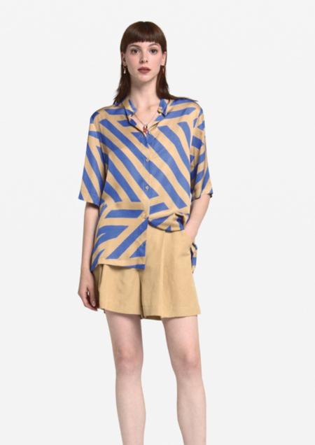 Ottod'ame Hus Shirt - Blue/Tan