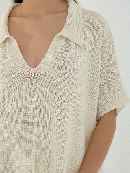 Monica Cordera Knit Polo - Natural