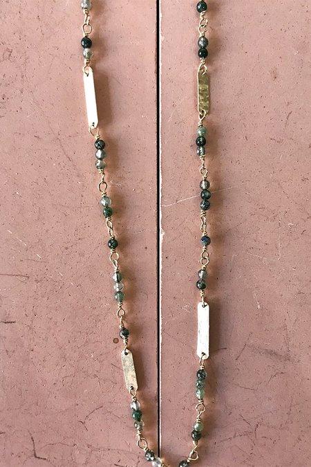 Cobamae Moss Agate Baguette Necklace