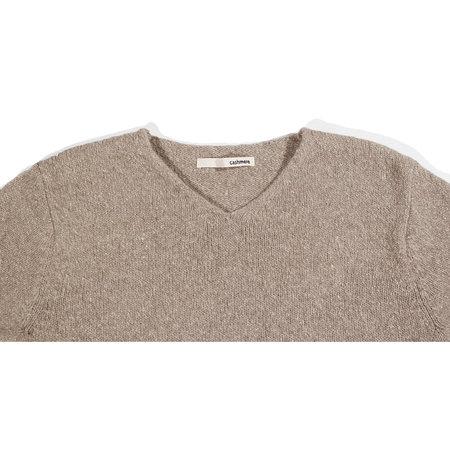Evam Eva Soft Cashmere V Neck Pullover - Mocha