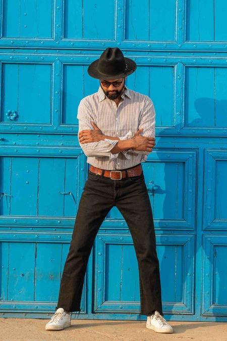 Dushyant Asthana The Amir Long Sleeves Shirt - Blue/Yellow Stripes