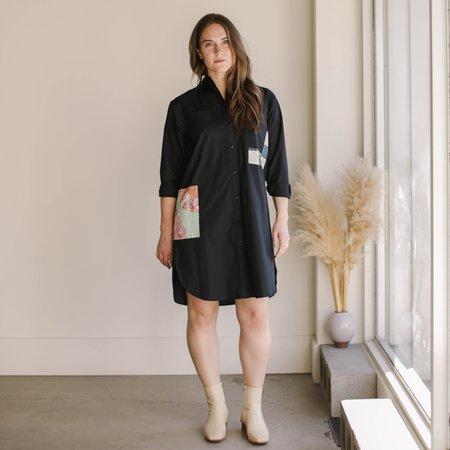 Carleen Patchwork Roadtrip Shirtdress - Black