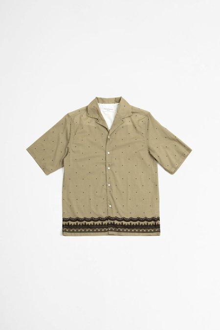 Officine Generale Eren Shirt - Piping Placed Print Khaki/Black