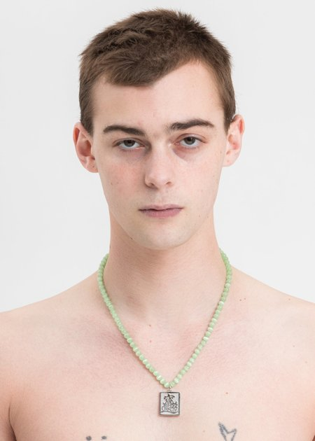 SANN STELLER LET'S RICH Pendant And Green Stone Necklace - Silver