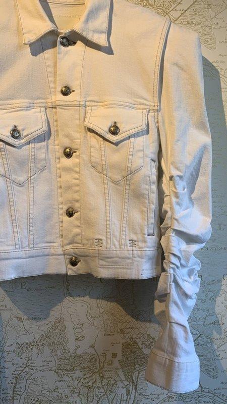 R13 Kelsey Shirring Denim Jacket - Brooke White