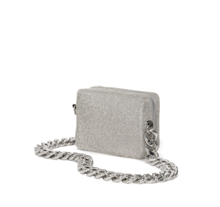 KARA Crystal Mesh Camera Bag - White Crystal