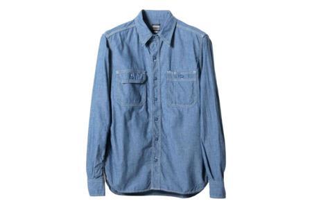 Momotaro Jeans 5oz Selvedge Chambray Work Shirt - Blue