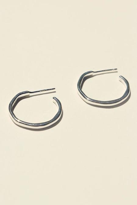 BRIE LEON 925 Organica Stud Hoop Earrings - Silver
