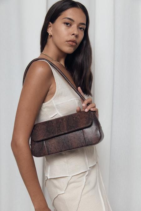 BRIE LEON Camille bag - Dark Brown Snake Skin