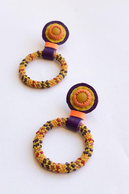 Robin Mollicone Hoop Earrings - Yellow/Yellow Jasper