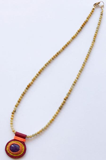Robin Mollicone Charm Necklace - Yellow/Lace Agate/Sugilite