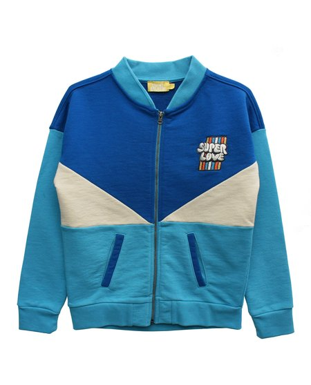 kids Bandy Button Bliss Zip Sweatshirt - Blue