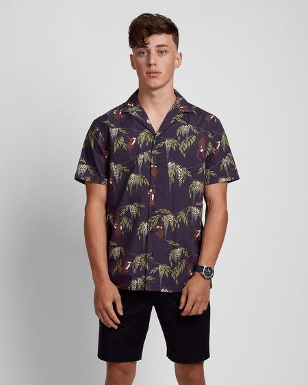 Poplin & Co. Casual Camp Collar Short Sleeve Shirt - Monkey Trouble Print