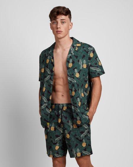 Poplin & Co. Casual Camp Collar Short Sleeve Shirt - Banana Pineapple Print