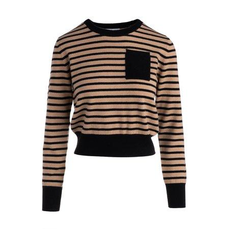 Naadam Two Tone Striped Crewneck Sweater - black/beige