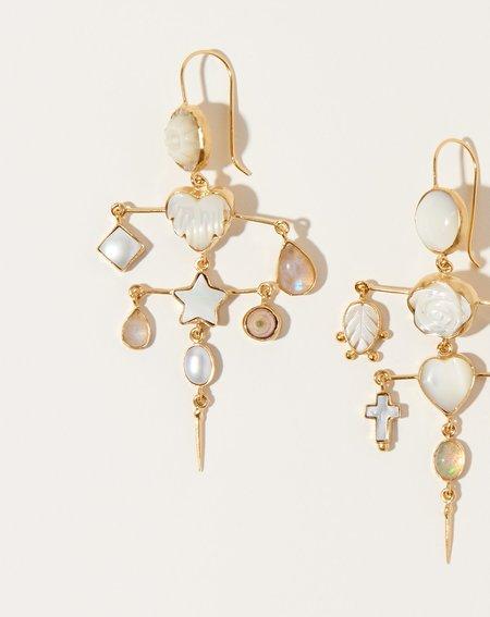 Grainne Morton Layered Victorian Drop Earrings - 18K gold plated silver