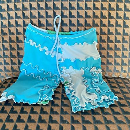 Sherris Ruffle Patch Swim Short - Green/Blue Patch