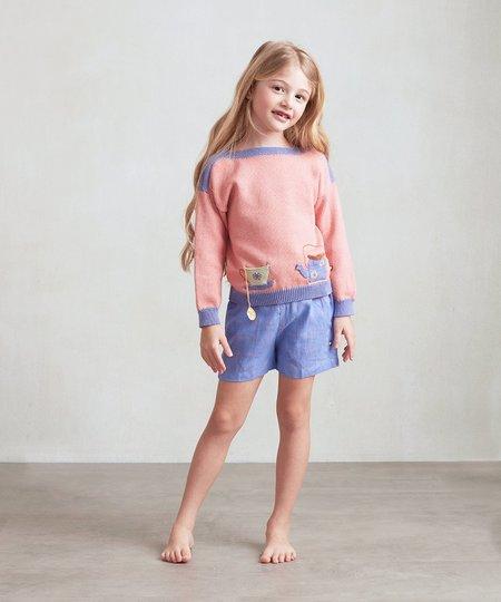 Kids Oeuf Boatneck Sweater - Flamingo Pink