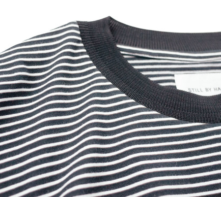 Still By Hand Striped Half-Sleeve Shirt - Black