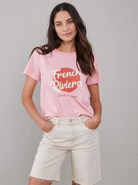 South Parade French Riviera Jane Crew Tee - Rose Pink