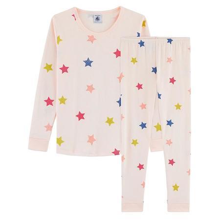 Kids Petit Bateau Larme Pyjamas - Star Print Pink