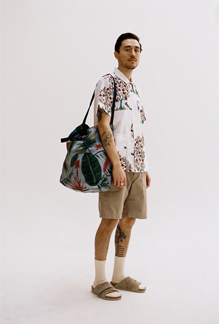 Engineered Garments Polyester Carry All Tote - Light Blue/Floral Print