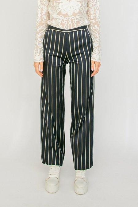 Vintage Armani Pinstriped Silk Pants - Midnight