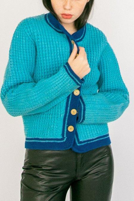 Vintage Knitted Cardigan - Cerulean