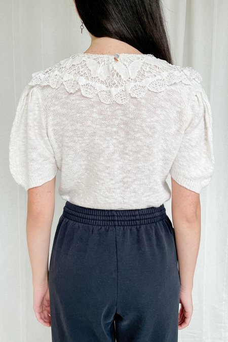 Vintage Crochet Knit Top - Shell White