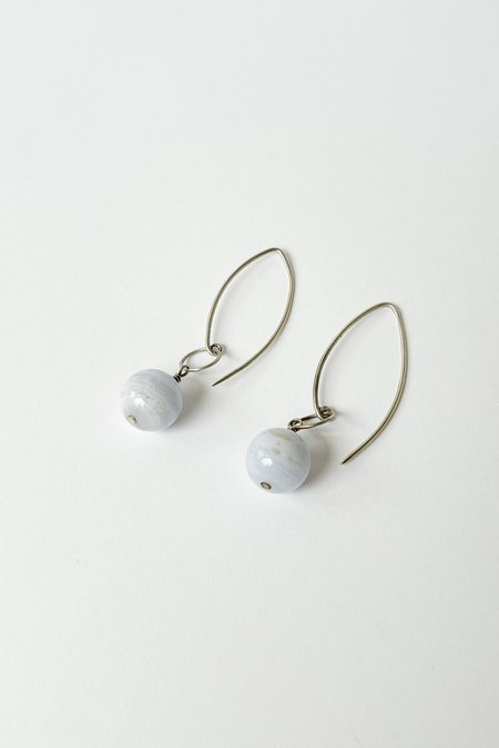 Vintage Sphere Fish Hook Earrings - silver