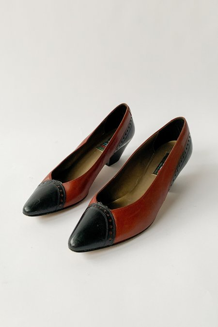 vintage Leather Pumps - Two Tone