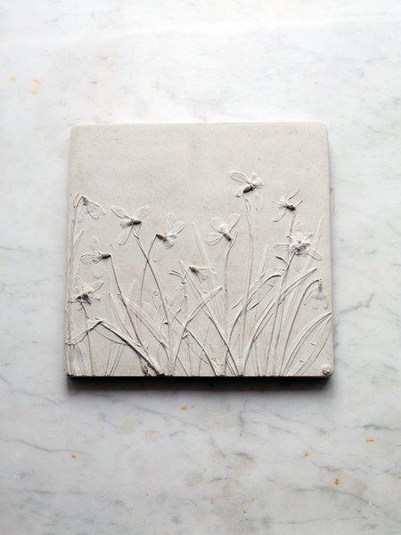 Rachel Dein Snowdrops Concrete Tile - white