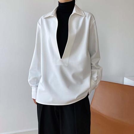 OPUSION V Neck Long Sleeve Blouse  - White/Blue/Black