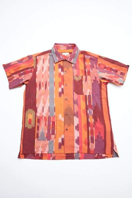 Engineered Garments Camp Shirt - Red/Orange Cotton Ikat