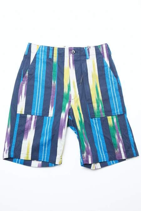 Engineered Garments Fatigue Short - Blue/Green/Yellow Cotton Ikat