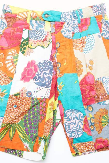 Engineered Garments Sunset Short - Multi Color Cotton Floral Patchwork