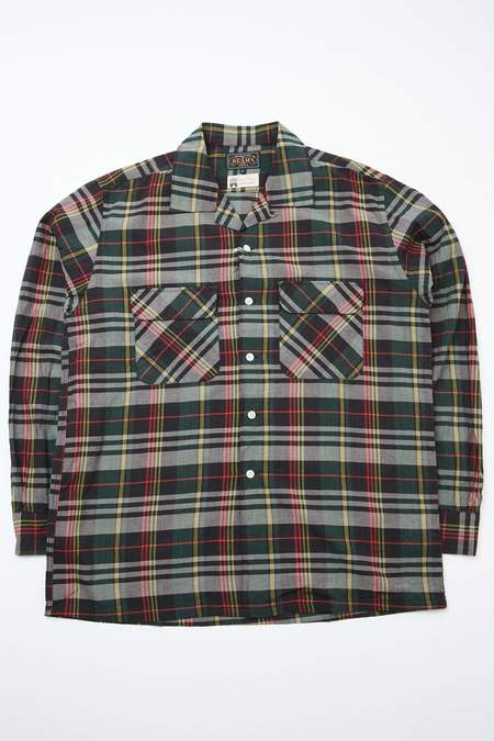 Beams Plus Open Collar Madras shirt - BLACK