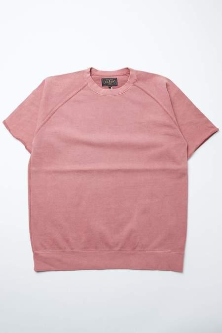 Beams Plus Short Sleeve Sweat Pigment Dye tee - BURGUNDY